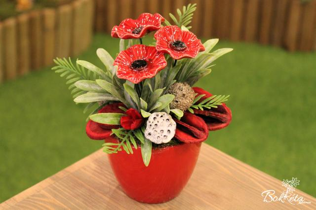 Ceramic flower: Mini Centerpiece - Little Poppy