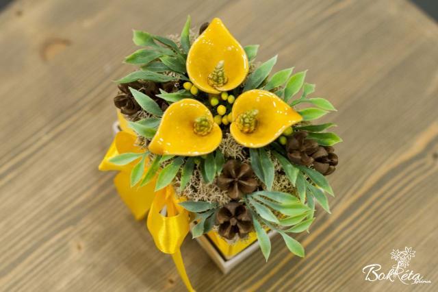Ceramic flower: Mini Flower Box - Yellow Calla