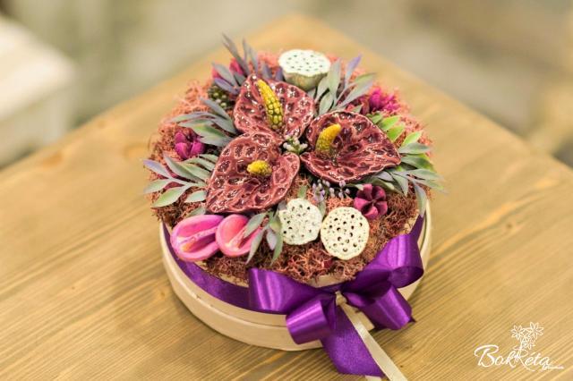 Ceramic flower: Middle Flower Box - Purple Flamingo Flower
