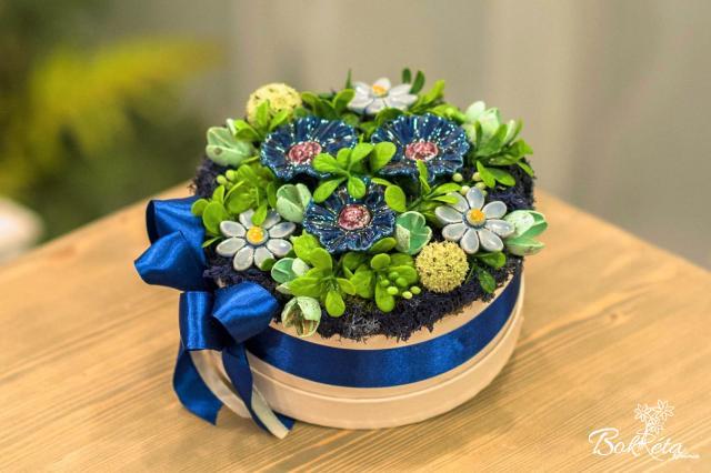 Ceramic flower: Middle Flower Box - Blue Cornflower