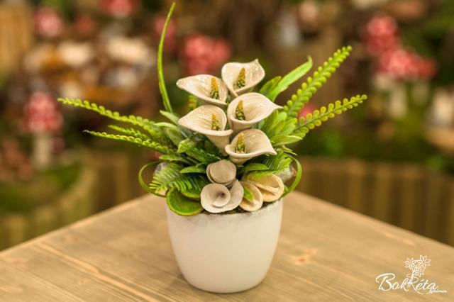 Ceramic flower: Large Centerpiece - White Calla