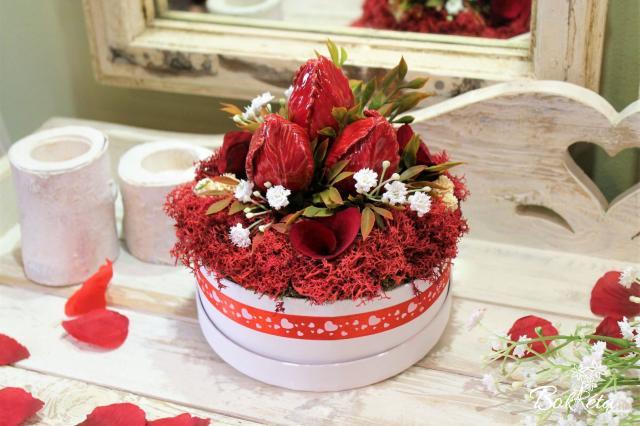 Ceramic flower: Little Flower Box - Red Tulip
