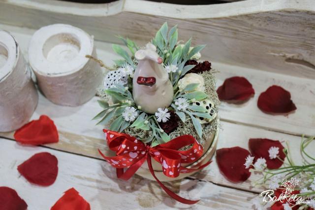 Ceramic flower: Mini Flower Box - White Mouse