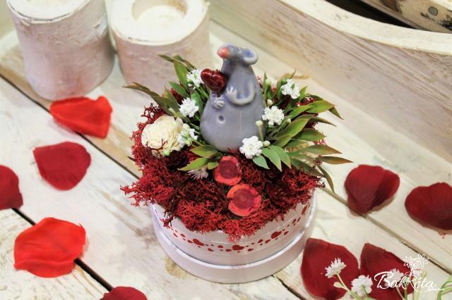 Ceramic flower: Mini Flower Box - Grey Mouse