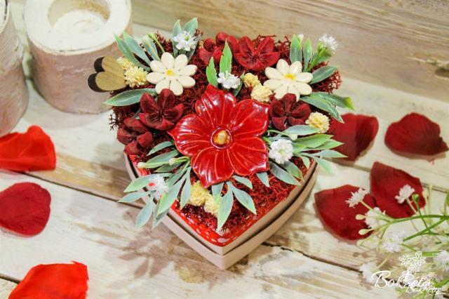 Ceramic flower: Mini Flower Box Heart - Mallow