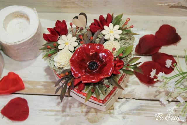 Ceramic flower: Mini Flower Box Heart - Poppy
