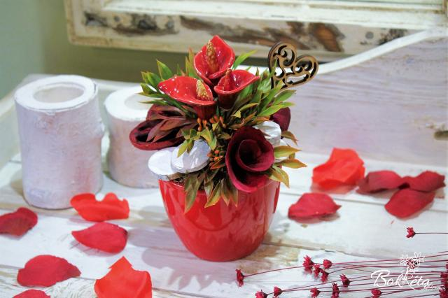 Ceramic flower: Mini Centerpiece - Red Calla