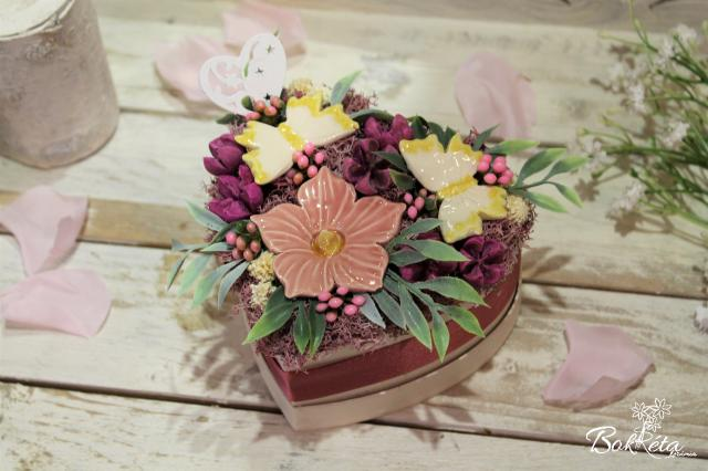 Ceramic flower: Mini Flower Box Heart - Mallow and Butterfly