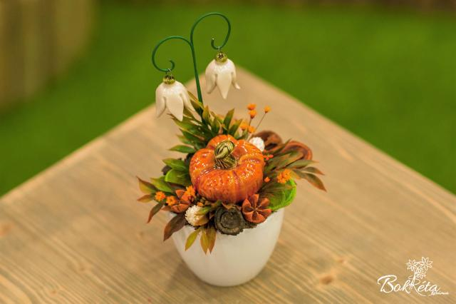 Ceramic flower: Mini Centerpiece - Pumpkin