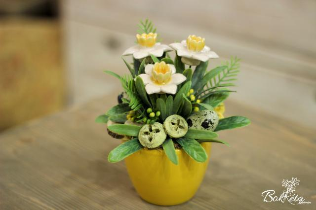 Ceramic flower: Mini Centerpiece - White Little Daffodil