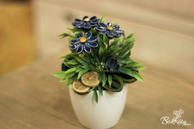 Ceramic flower: Mini Centerpiece - Blue Little Daisy 2