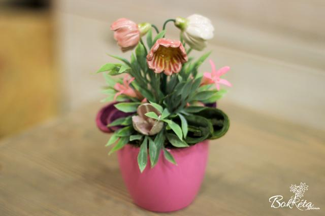 Ceramic flower: Mini Centerpiece - Pink Primrose