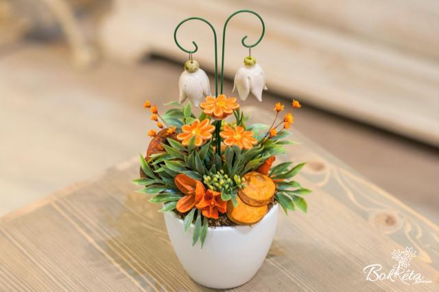 Ceramic flower: Mini Centerpiece - Orange Mini Daisy