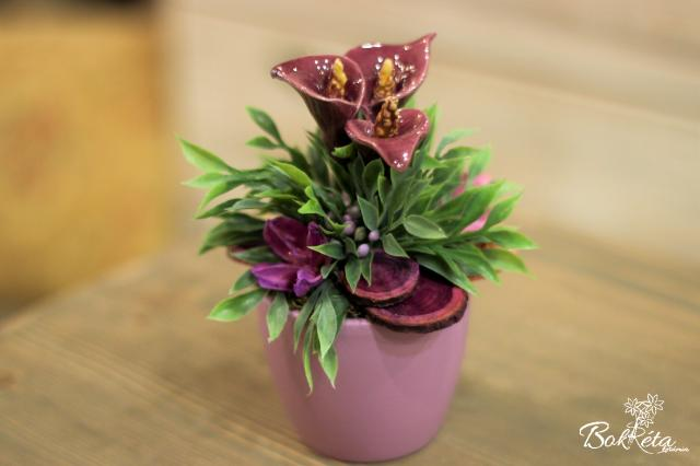 Ceramic flower: Mini Centerpiece - Purple Calla 2