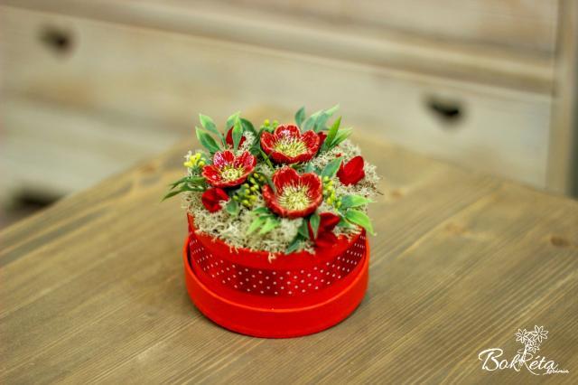 Ceramic flower: Mini Flower Box - Red Wild Rose