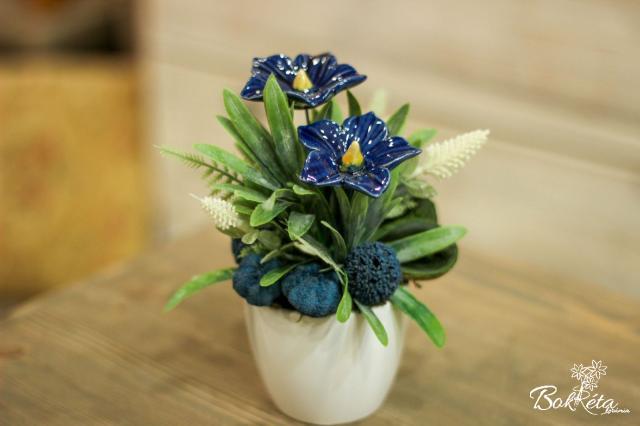 Ceramic flower: Mini Centerpiece - Blue Mallow