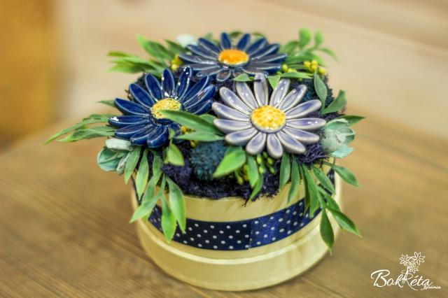 Ceramic flower: Mini Flower Box - Blue Meadow Daisy