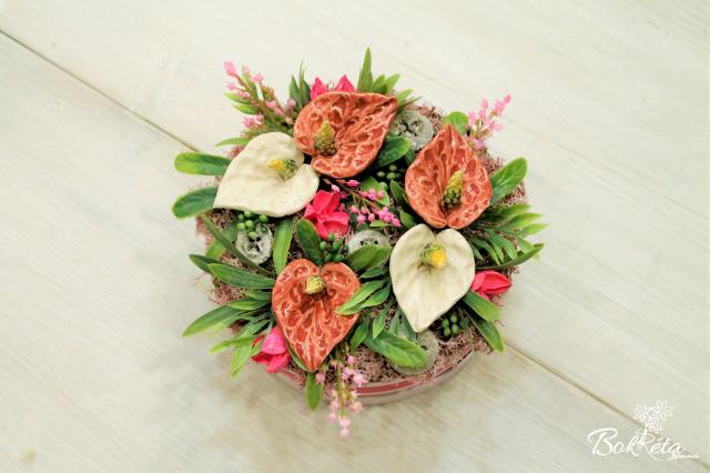 Ceramic flower: Medium Flower Box - Flamingo Flower