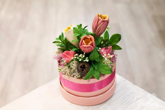 Ceramic flower: Mini Flower Box - Three Crocus