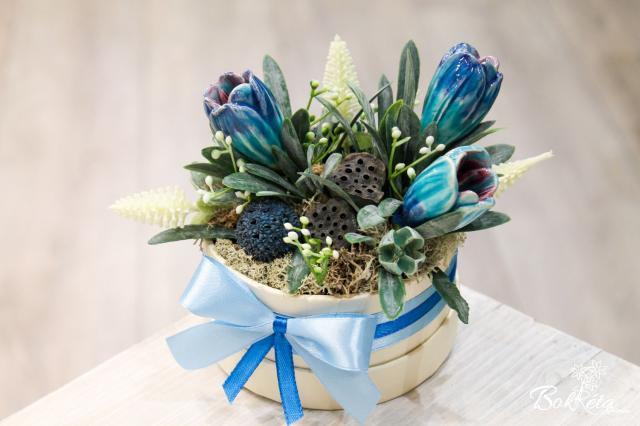 Kerámia virág: Mini Virágdoboz - Kék Krókusz