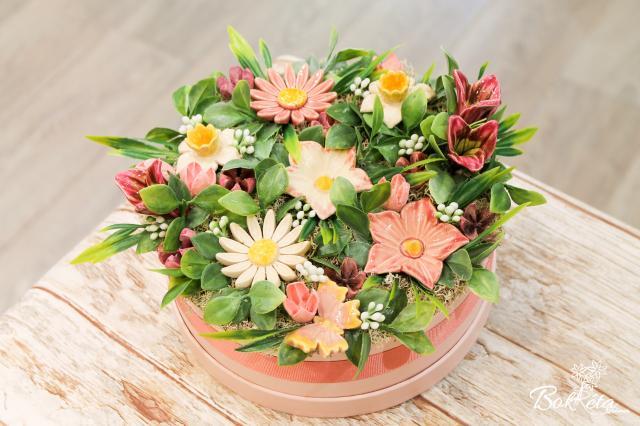Kerámia virág: Nagy Virágdoboz - Rózsaszín varázs