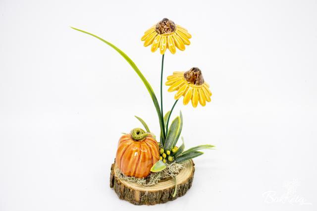 Kerámia virág: Fakorongos Dekoráció - Dísztök és Kasvirág