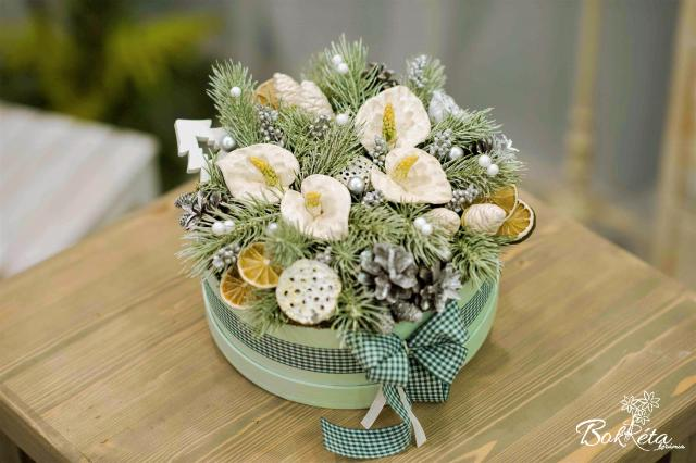 Ceramic flower: Large Christmas Flower Box - White Falmingo Flower