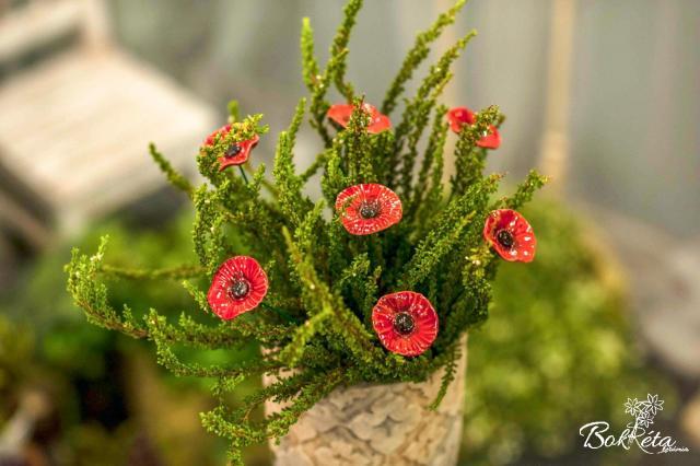 Kerámia virág: Kicsi Pipacs