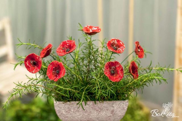 Kerámia virág: Pipacs