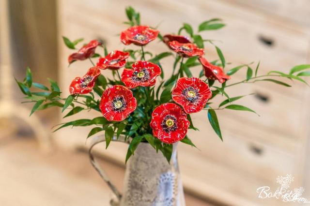 Kerámia virág: Díszpipacs