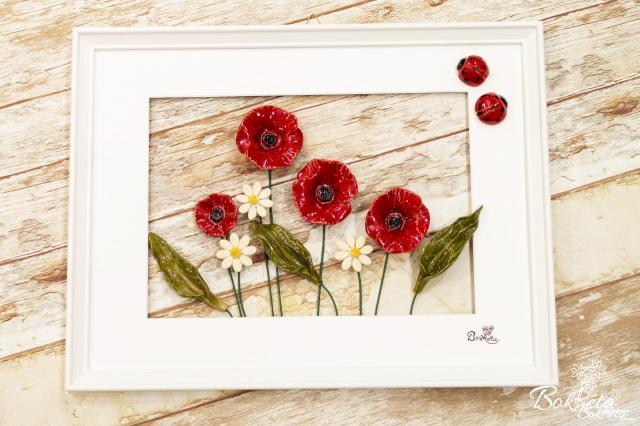 Kerámia virág: Nagy Kép - Pipacsos Rét