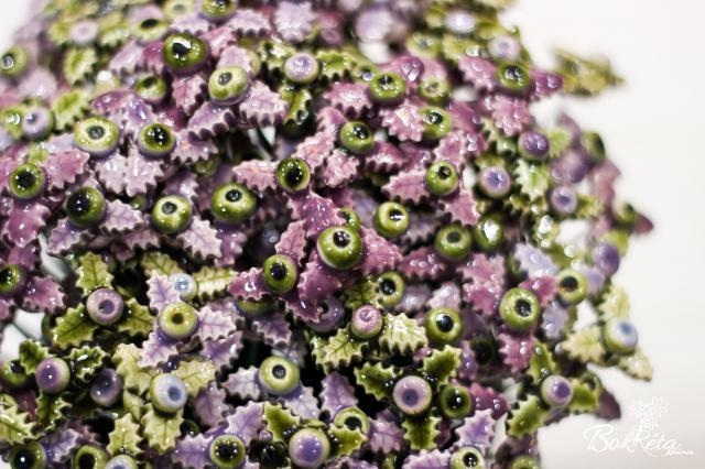 Kerámia virág: Lila-zöld Mini Magyal Akciós Csomag 5db