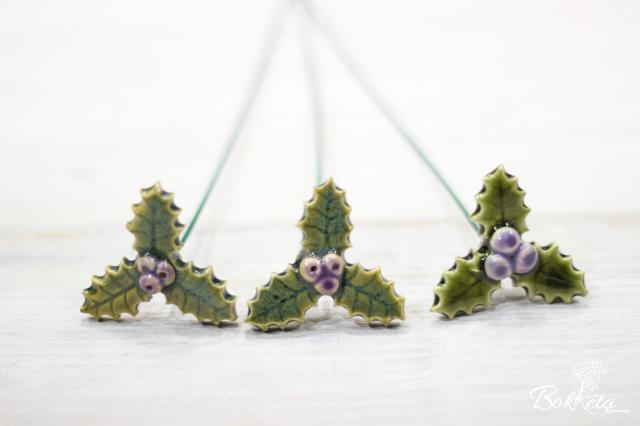 Ceramic flower: Green-purple Little Holly Special Offer 5pcs