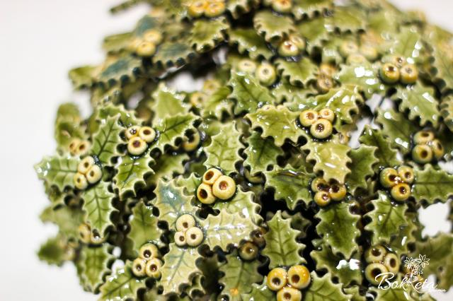 Ceramic flower: Green-yellow Little Holly Special Offer 5pcs