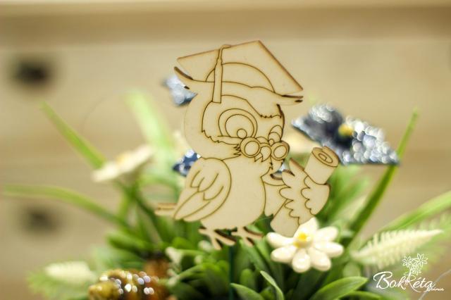 Ceramic flower: Graduation table - Owl 2