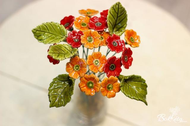 Kerámia virág: Mini pipacs