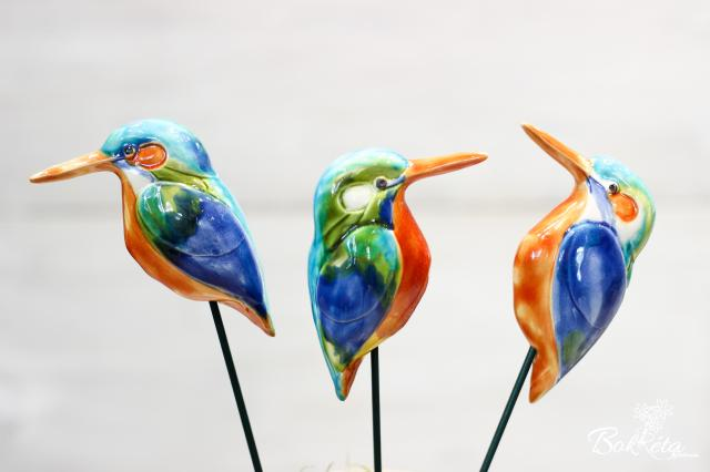 Ceramic flower: Kingfisher bird