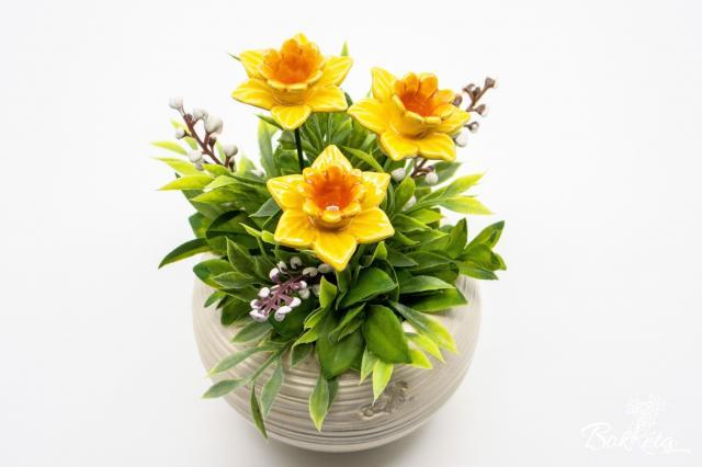 Kerámia virág: Fehér Kisgömb Nárcisszal