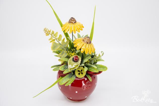 Kerámia virág: Piros Kisgömb Kasvirággal