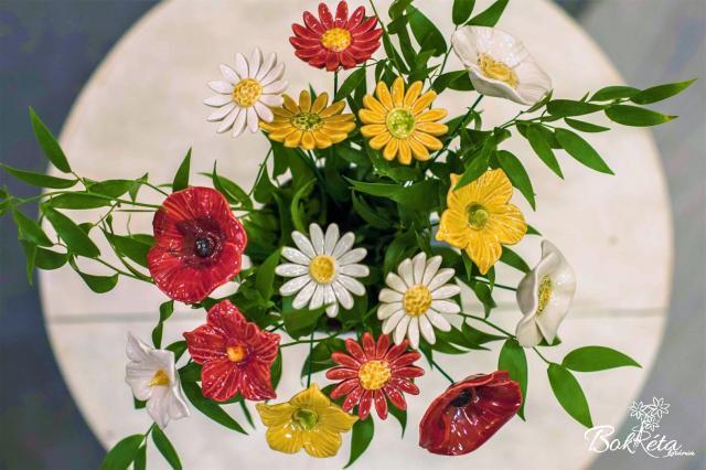 Kerámia virág: Csokortervező - Napsütötte Rét