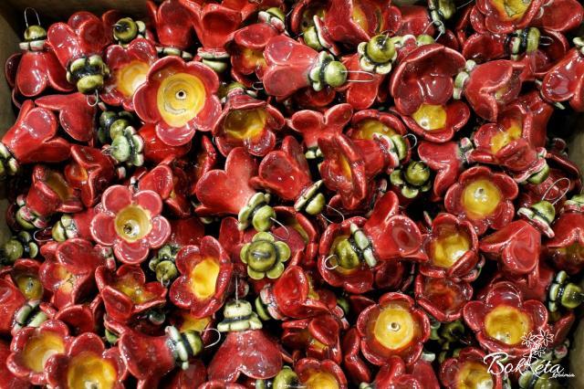Ceramic flower: Claret Little Bellflower Special Offer 5pcs