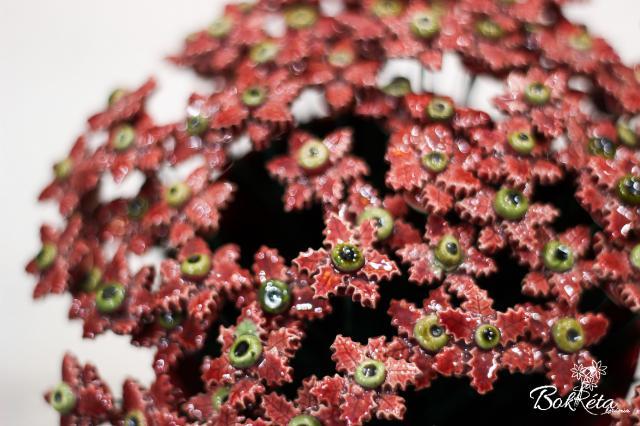 Ceramic flower: Claret Mini Christmas Flower Special Offer 5pcs