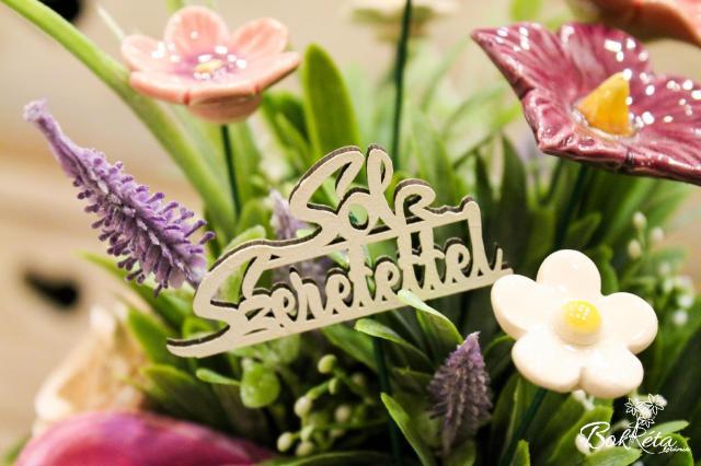 Ceramic flower: Sok szeretettel tábla