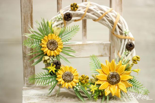 Ceramic flower: Big Door Wreath  - Sunflower