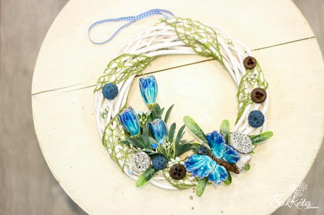 Ceramic flower: Big Door Wreath - Crocus and Butterfly