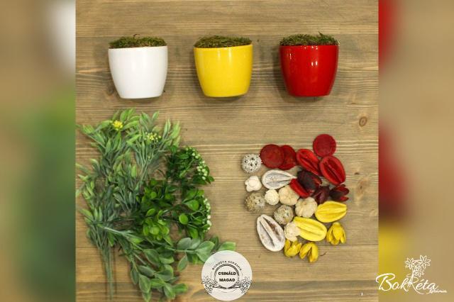 Ceramic flower: DO IT YOURSELF - Mini Centerpiece - white, yellow, red