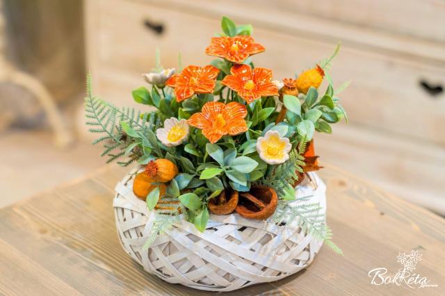Ceramic flower: Little Basket - Orange Mallow