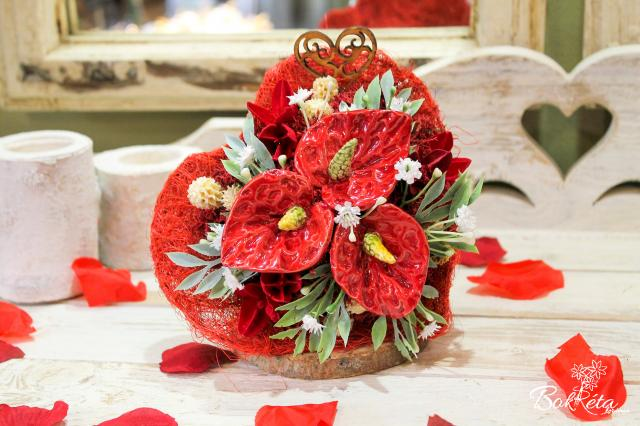 Ceramic flower: Little Bouquet Heart - Red Flamingo Flower