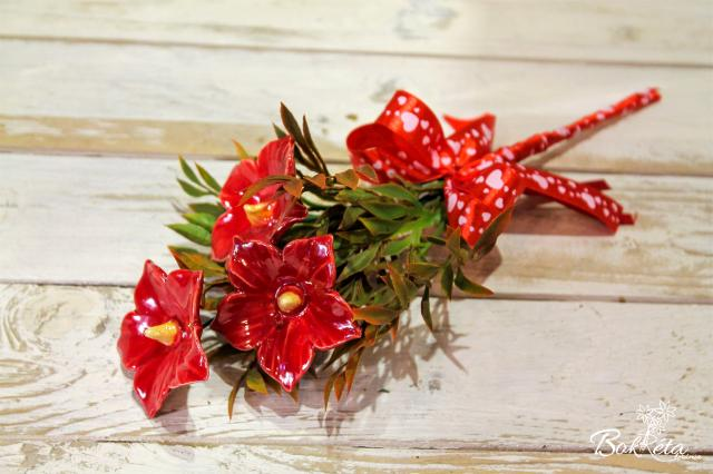 Ceramic flower: Mini Bouquet - Red Mallow